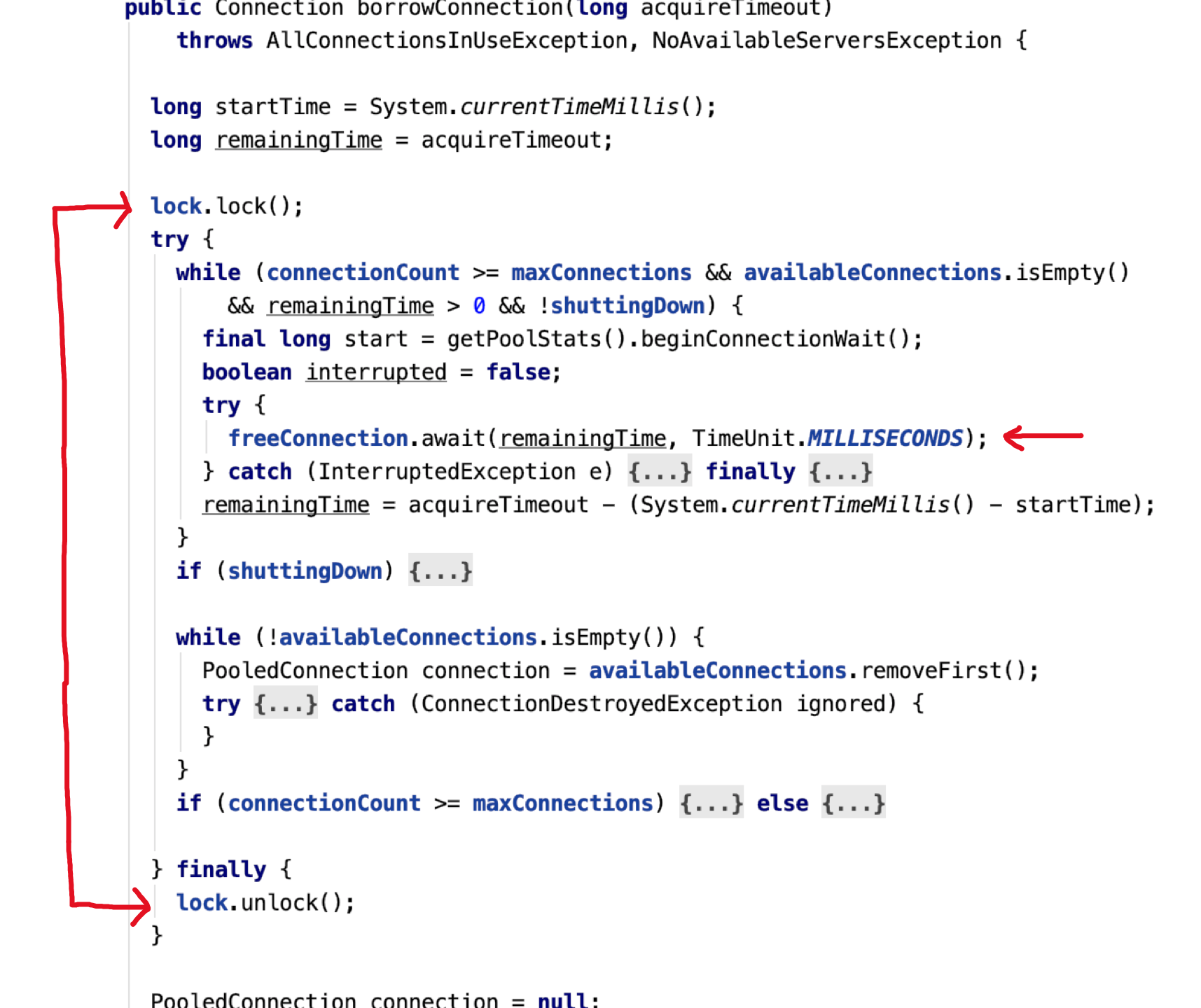Figure 5: borrowConnection implementation locking - Long code snippet with 6 collapsed sections of code. An arrow spanning the majority of the snippet highlights that all that code is between locking and unlocking. A second arrow points to an await while holding the lock.