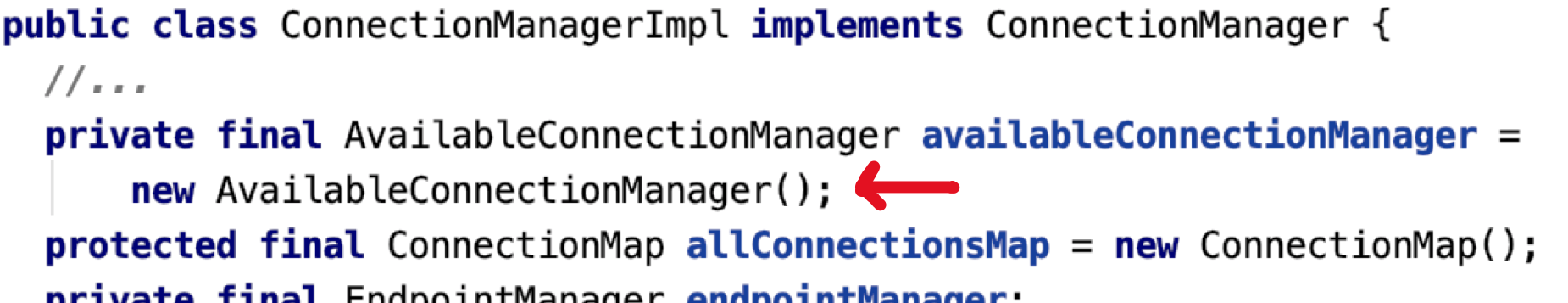 Figure 6: Refactored ConnectionManagerImpl - Code snippet of ConnectionManagerImpl, with a line highlighted showing that a new class has been introduced, called AvailableConnectionManager.