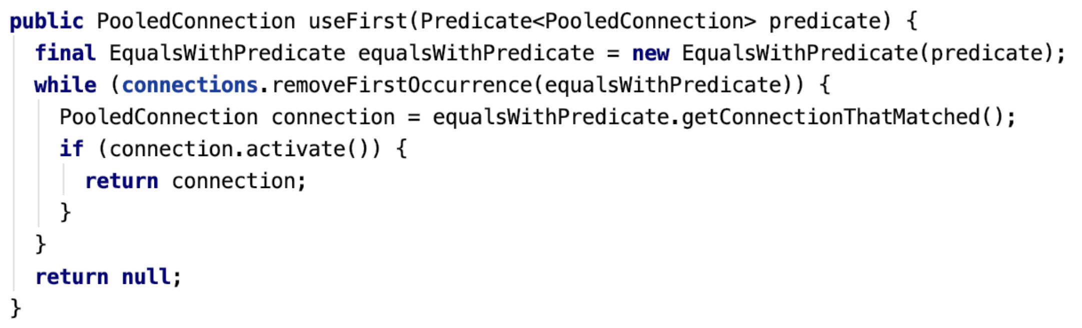 Figure 9: AvailableConnectionManager.useFirst() - code snippet that shows the useFirst method. The method no longer uses any locks, instead using ConcurrentLinkedDeque.removeFirstOccurence().
